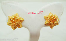 22K 23K 24K THAI BAHT YELLOW GOLD GP FLOWER EARRINGS JEWELRY E64