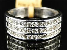 Solid White Gold Mens Round Cut Diamond Channel Wedding band Ring .95 Ct 8MM