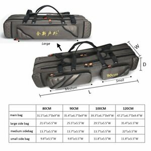 3 Compartment Fishing Bag Folding Carrier Reel Case Fish Pole Tools Storage Bags