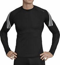 adidas AlphaSkin Sport + 3 Stripe Long Sleeve Mens Training Top - Black M