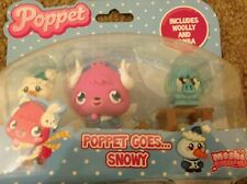 POPPET MOSHI MONSTER PLAY SET 3 Figure Set Poppet Goes  Snowy- FREE P&P
