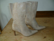 "NEXT UK5 SIZE 38 LADIES BEIGE LEATHER MID CALF BOOTS 3"" HEEL GOOD CONDITION"