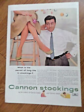 1953 Cannon Stockings Nylons Ad what is the Secret of Long Life in Stockings?