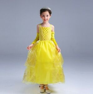Girl Dress Costume Princess Belle Dress Magic Wand and Gloves size 2-10 years