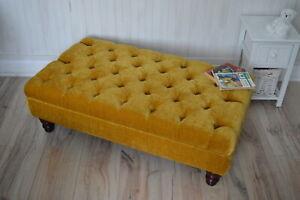 Chesterfield Deep Button Footstool Ottoman in Plush Turmeric Velvet Fabric