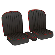MGA Coupe Seat Cover set Leather Black / Red piping Pair 1955-1962 NEW 246-020