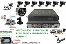 KIT VIDEOSORVEGLIANZA 8 TELECAMERE+CAVI+ALIMENTATORI+HARDDISK 320GB