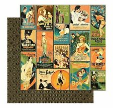 Graphic 45 2 sheets, Vintage Hollywood collection, Tinseltown 12 x 12 paper
