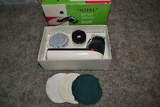 WORKING! Vintage Mapel Battery Operated Shoe Brush Set Brushing & Buffing Heads