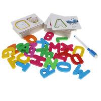 Kids Baby Preschool Wooden 26 A~Z Alphabet Cards Matching Puzzles Blocks Toy
