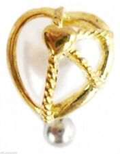 Belly Ring Top Down Heart Golden Pearl Non Dangle Naval Body Jewelry