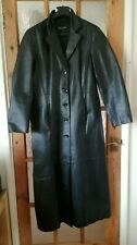 """MILAN Black Real Genuine Leather Long Coat Size: 14 - Chest 40"""""""