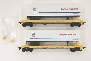 HO Two Con-Cor Union Pacific TOFC Flat Cars w/ Trailers, some loose parts