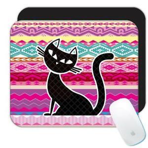 Gift Mousepad : Black Cat Ethnic Pattern Kitty Trend Kitten