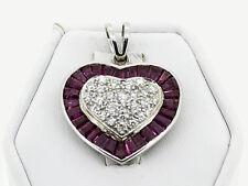 Herz Ketten-Anhänger 750er 18 Karat Weiß-Gold Diamanten Brillanten Pink Turmalin