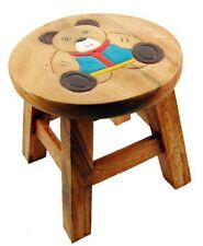 Cute Bear Design Shabby Chic Childs Brown Wood Wooden Stool