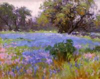 Canvas Print Texas Bluebonnets Landscape Oil painting Printed on canvas L132
