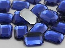 25x18mm Royal Blue JG33 Flat Back Octagon Acrylic Gemstones For Crafts - 15 PCS