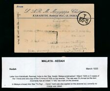 MALAYA KEDAH STRAITS SETTLEMENTS POSTAGE DUES etc on INCOMING MAIL 1920-41