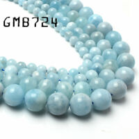 Natural Aquamarine Stone Round Loose Spacer Beads For Jewelry Making 6/8/10mm