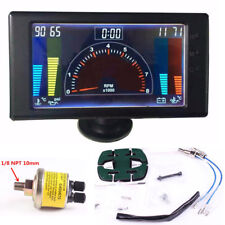 LCD Digital 6'' Meter LED Oil Pressure VOLT Water Temp Gauge R.P.M & Hour Meter