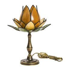 Lampada da tavolo abat-jour in ottone e vetro tiffany tulipano ambra
