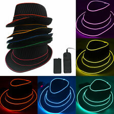 EL Light Up LED Fedora Hat Christmas Halloween New Years Music Festival Party.