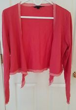 Boden Women's Open Front Cardigan Size L Pink Long Sleeve Top