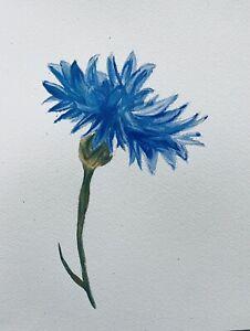 "Original Watercolour Painting Single Blue Flower A4 8x12""By D Coleman"