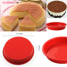"BIG Round Cake Pan Bread Chocolate Pizza Baking Tray Silicone Mold (7.3""x1"") New"
