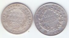 TWO coins British India 1840 one rupee silver Queen Victoria open & close good g