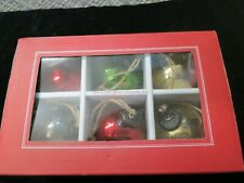 POTTERY BARN Vintage Mercury Glass Ball Ornaments, SET OF 6, RED & GREEN L-3
