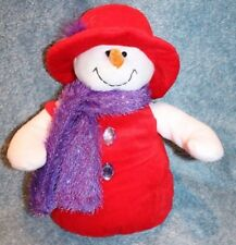 Sugar Loaf Red Hat/ Purple Scarf Snowman/ Woman Red Purse Merry Christmas