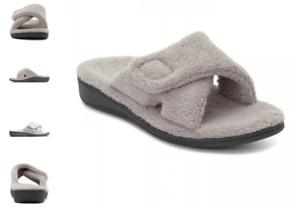 Vionic Relax Light Grey Terry Slide Slipper Sandal Women's sizes 5-12 NEW!!!