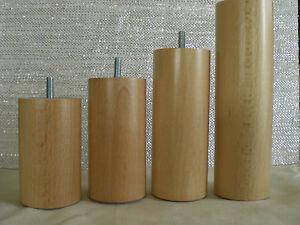 Couchfüße Möbelfüße Holzfüße RUND BUCHE FARBLOS LACKIERT M8 ∅=60mm. H-bis 30cm.