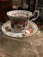 Royal Albert October Floral Flower Cosmos Teacup Saucer Set