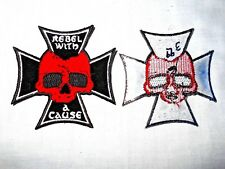 """3"""" x 3"""" IRON CROSS WITH BIKER SKULL IRON-ON / SEW-ON EMBROIDERED PATCH"""
