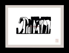 Graphik Linolschnitt Linoldruck Pferde, Pferd