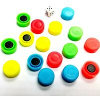 1Set of 16pc Magnetic Round Token 1 dice for pocket game chess Preschool LUDO