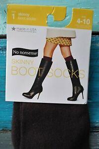 No Nonsense Skinny Boot Socks brown espresso fits women's sizes 4-10 NIP