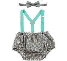 Baby Boys Cake Smash Outfit 1st Birthday Bowtie Suspenders Sets