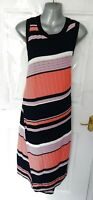 NEXT Size 16 Navy Blue Pink Peach Ribbed Stretchy Wrap Effect Long Dress