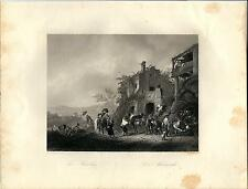 Stampa antica MANISCALCO fucina ferri da cavallo 1850 Old antique print