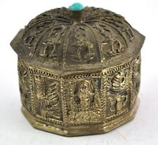 Rare Vintage Chinese Shard Box Tibetan Silver Trinket Treasure Box wJewel on top