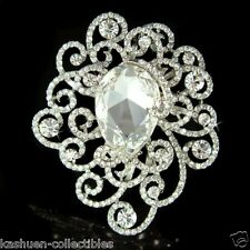 Big w Swarovski Crystal Filigree Flower Floral Bridal Wedding Jewelry Pin Brooch