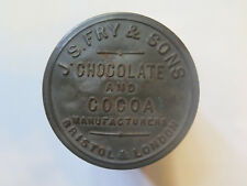 J S FRY & SONS CHOCOLATE & COCOA TIN BRISTOL LONDON c1890 IMPRESSED TOP RARE