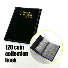 5x 120 COIN HOLDERS COLLECTION ALBUM BOOK Money Penny Collecting Pockets Storage