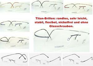 Beta Titan Brillenfassung randlos leicht flexibel stabil, mit / ohne Scharniere