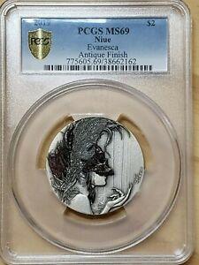 2019 Niue Dark Beauties Evanesca Silver Antique Finish PCGS MS69 $2 2162