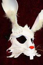 Alice's White Rabbit Bunny Mask Handmade Real Leather Venetian Masquerade